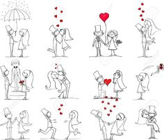 Wedding Gifts For Bride And Groom Set Of Wedding Pictures, Bride And Groom In Love Royalty Free Cliparts, Vectors, And Stock Illustration. Image - Vector - set of wedding pictures, bride and groom in love Doodle Wedding, Sketch Note, Love Doodles, Clip Art, Free Cartoons, Stick Figures, Doodle Drawings, Stone Art, Blackwork