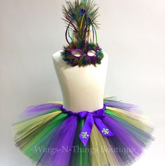ADULT MARDI GRAS Costume Tutu Skirt 2pc Set w/ Peacock feather mask, woman, women, teen, fleur de lis, new orleans, dance, running, marathon by wingsnthings13. Explore more products on http://wingsnthings13.etsy.com