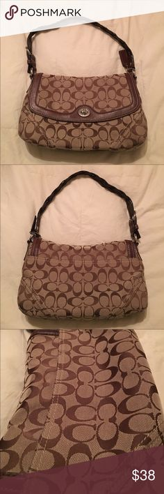 Coach shoulder purse Lightly pre owned Coach Brown Canvas H0769-11014 Zip Top Hobo Purse Handbag Bag with leather accents and handle. It is in Excellent used condition as shown in the pictures and was only carried about 6 times and then stored away. Smoke and pet free house. Coach Bags Shoulder Bags