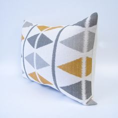 GRAY  and GOLDEN YELLOW pillow cover - ikat chevron print. $19.00, via Etsy.