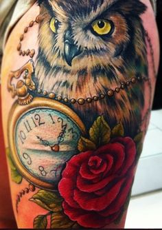I want a tattoo similar to this :) a broken clock with a owl holding a rose.. timeless wisdom and beauty is my meaning :3