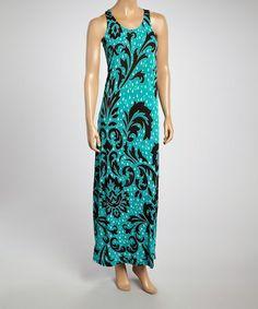 Look what I found on #zulily! Teal & Black Flourish Maxi Dress by Just Love #zulilyfinds $12.99, regular 36.00