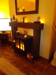 Rustic Wooden Beam Fire Surround mantel Wooden Beam, Fire Surround, Beams, Rustic, Living Room, Home Decor, Country Primitive, Decoration Home, Room Decor