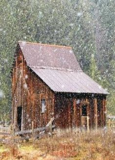Barn In A Snow Storm by josie