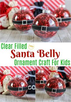 This clear filled Santa belly ornament craft for kids is adorable for Christmas and super quick and easy to make! Pine Cone Christmas Tree, Christmas Ornaments To Make, Family Christmas, Christmas Time, Christmas Bulbs, Christmas Ideas, Christmas Decorations, Santa Crafts, Ornament Crafts