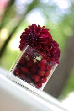 fill jar or vase - different sizes and shapes with cranberries or cherries and add 1-2 flowers on top