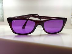 Purple cerium tinted lenses into a rich brown Look frame work beautifully together.