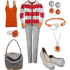 To complete: red striped cardigan <3