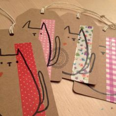 Handmade cat masking tape + kraft paper tags. ©ankepanke.nl