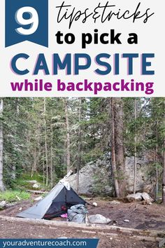 I'm excited to share tips and tricks for picking the best campsites on the trail. There are a few things to consider here, like what type of backpacking gear you have; how isolated you want to be; where are the closest hiking trails and water sources; and most importantly, how safe is the area? Read this before your next backpacking trip. Water Sources, Backpacking Tips, Campsite, Hiking Trails, Fuentes De Agua, Camping, Hiking Tips