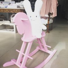 Pink rocking horse, white Ange Lapin angel bunny toy - Romy & Compagnie baby store in Matosinhos, Portugal