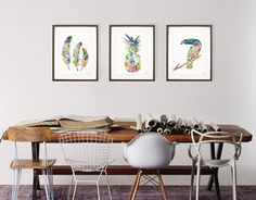 want a harvest table like this with random chairs  Watercolor Art Print Set of 3  Minimalist Art 8x10 by ElfShoppe, $60.00