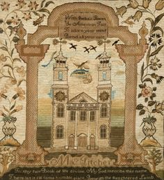 AMERICAN NEEDLEWORK SAMPLER, Mary Balch School, Providence, Rhode Island, ca. 1800;  embroidered silk on linen; wrought by Mary Pitcher; dep...