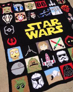 """Homemade Star Wars Crochet Blanket 51""""x58"""""""