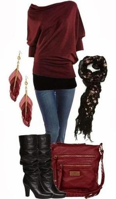 New Dark Red Sweater, Jeans, Feather Earrings, High Heel Shoes and Hand bag for Ladies. Love the bag. by Harley Q