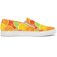 Del Toro Citrus Printed Canvas Slip On Sneaker With White Sole