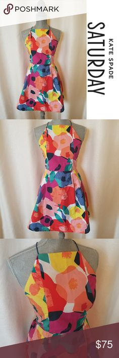 Kate Spade Saturday Abstract Floral Dress Sz 2 Colorful abstract floral dress from Kate Spade Saturday line. Hard to find. Super fun dress! kate spade Dresses