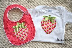 strawberry applique example baby onsie