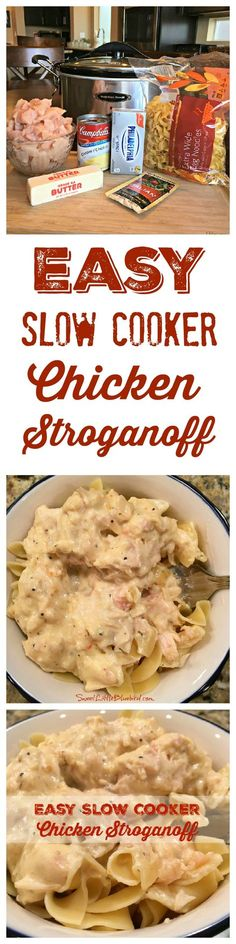 EASY SLOW COOKER CHICKEN STROGANOFF - Awesome slow cooker meal the whole family will love including the kiddos, that will have them coming back for more! Just a few ingredients and minutes to throw together, this is a recipe you'll want to add to your recipe box, sure to be on regular rotation. Also makes delicious leftovers!