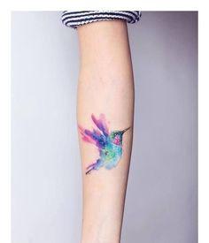 Watercolour bluebird tattoo