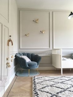 The baby room is coming together via Room Wall Decor, Baby Room Decor, Bedroom Decor, Home Interior Design, Interior Decorating, Art Deco Living Room, Dining Room Walls, Home And Living, Room Inspiration