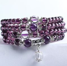 Buddhist Amethyst Mala Bracelet/Necklace (108 Beads) Amethyst stimulates the crown chakra and calms your thoughts, making it a powerful aid in meditation. The healing propertieshelp to clear your body's energy f