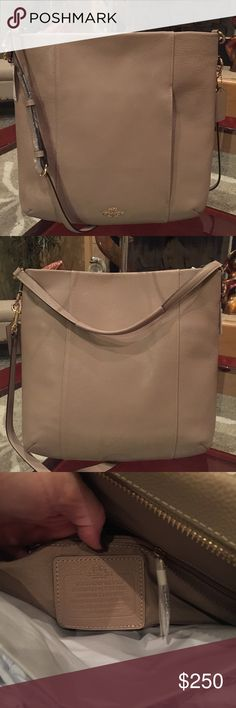 """NWT Coach Handbag Beautiful large Coach pebbled leather Isabelle.  Stone color. Measures 13"""" x 12"""" x 3"""". Long and short strap. Gorgeous new bag. Coach Bags Shoulder Bags"""
