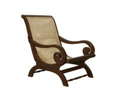Hand Carved Colonial Teak & Rattan Chair - Puji Solid Wood Furniture