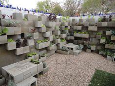 Cinder block lettuce wall