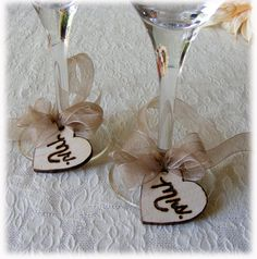 Rustic Wine Glass Charms with Mr. & Mrs. - perfect for vineyard, barn  or rustic weddings - Set of 2 - Made to order