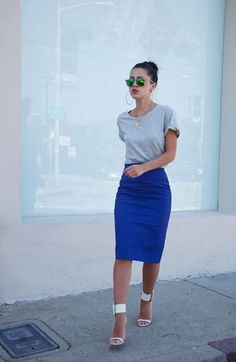High waist blue royal pencil skirt with grey shirt and white sandals.