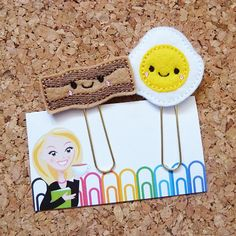 Felt BACON and EGGS Bookmark | Paper Clip | Inch Worm Refrigerator Magnet | Caterpillar Brooch Pin |Organizer | Calender | Planner Accessory