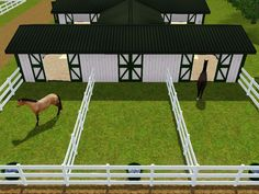 I like the idea of a sliding exit/turnout door, I would do one large sliding door instead of two smaller ones. Barn Stalls, Horse Stalls, Sims 3, Barn Layout, Horse Barn Plans, Horse Shelter, Small Barns, Horse Ranch, Dream Barn