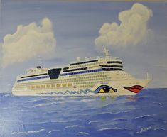 """Cruise ship at sea, painting canvas, 60x50 cm (23.6 x 19.7""""). Title: """"Kiss me!"""""""