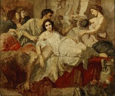Anselm Feuerbach (German, 1829-1880). Romans of the Decadence (after Couture), ca. 1850. Oil on canvas. 21 3/16 x 25 3/4 in. Charles and Emma Frye Collection, 1952.044