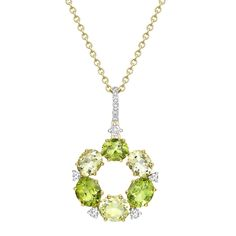 This beautiful mini peridot, lemon quartz and diamond pendant in 18ct yellow gold  is from our 'Lola' collection and will add a splash of subtle colour to any outfit.