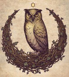 BOTANICAL MOON Owl PRINT Art Nouveau DinA4 8x11''