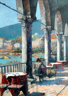 Branko Dimitrijevic, Breakfast by the Sea, Oil on Canvas, 95x70cm, £2300