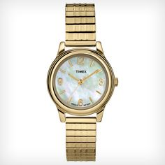 Timex T2N843 Women's Elevated Classics Dress Mother of Pearl Dial Gold Tone Stainless Steel Expansion Bracelet Watch