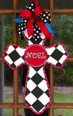 Noel Wooden Cross Door Hanger / Wooden by SouthernWhimsyStyle Cross Door Hangers, Wooden Door Hangers, Wooden Doors, Painted Wooden Crosses, Wood Crosses, Preschool Christmas Activities, Burlap Cross, Hand Painted Chairs, Wood Projects For Kids