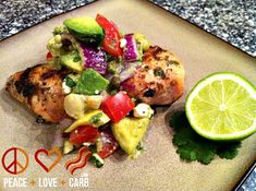 Peace, Love, and Low Carb: Chili-Lime Rubbed Chicken with Avocado-Feta Salsa- unique low carb mexican inspired light healthy fresh Low Carb Chicken Recipes, Paleo Recipes, Low Carb Recipes, Great Recipes, Cooking Recipes, Favorite Recipes, Candida Recipes, Skinny Recipes, What's Cooking