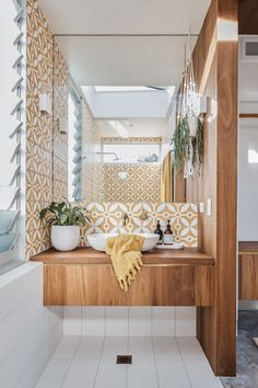Style-savvy Shelley dreamt up the design of her beautiful bathroom featuring patterned feature tiles in her signature sunshine yellow from Jatana Interiors, custom timber cabinetry and gorgeous Sussex Scala Living Tumbled Brass Sink Mixer, from Reece. Bathroom Inspiration, Home Decor Inspiration, Decor Ideas, Decorating Ideas, Design Inspiration, Laundry In Bathroom, Bathroom Sets, 50s Bathroom, Warm Bathroom