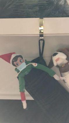 Elf on the Shelf easy idea! Shelf Ideas, Christmas Traditions, Elf On The Shelf, Stockings, Shelves, Holiday Decor, Unique, Easy, Home Decor