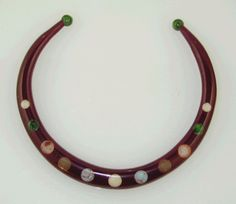 Designed Jorge Caicedo Montes de Oca. Hand Crafted using Authentic Vintage Bakelite .  U Necklace with multi dots .