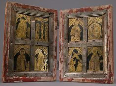 """In his Craftsman's Handbook (about 1390), the Florentine artist Cennino Cennini outlines the """"individual attractive, fine and unusual"""" process of gilding glass """"for the embellishment of holy reliquaries. Reliquary Diptych  Date:     late 14th century Culture:     Central Italian Medium:     Verre églomisé, polychromy, wood, and metal"""