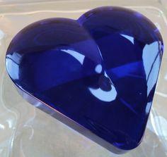 Vintage Cobalt Blue glass Heart Shaped