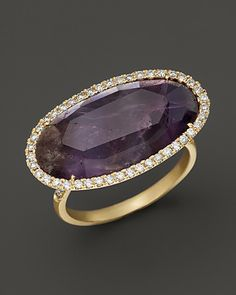 Meira T Diamond and Rough Amethyst Ring in 14K Yellow Gold | Bloomingdale's