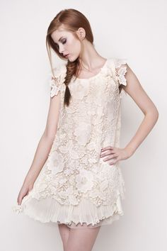 Jolie Moi Amy Cream Vintage Crochet Dress