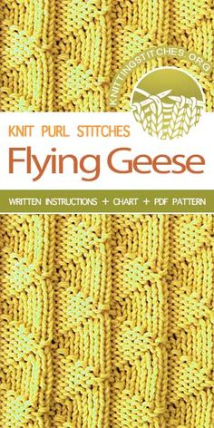 Knitting Stitches -- Flying Geese stitch pattern. Instructions provided in charted and written form.