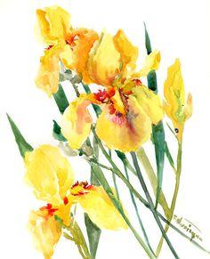 Yellow irises Artwork iris flowers garden floral painting , original watercolor painting,  elegant color flowers, lemon yellow wall art by ORIGINALONLY on Etsy